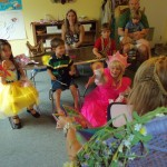 """Princesses holding Eeka butterfly and pterodactyl. """"Eek, Eek!"""""""