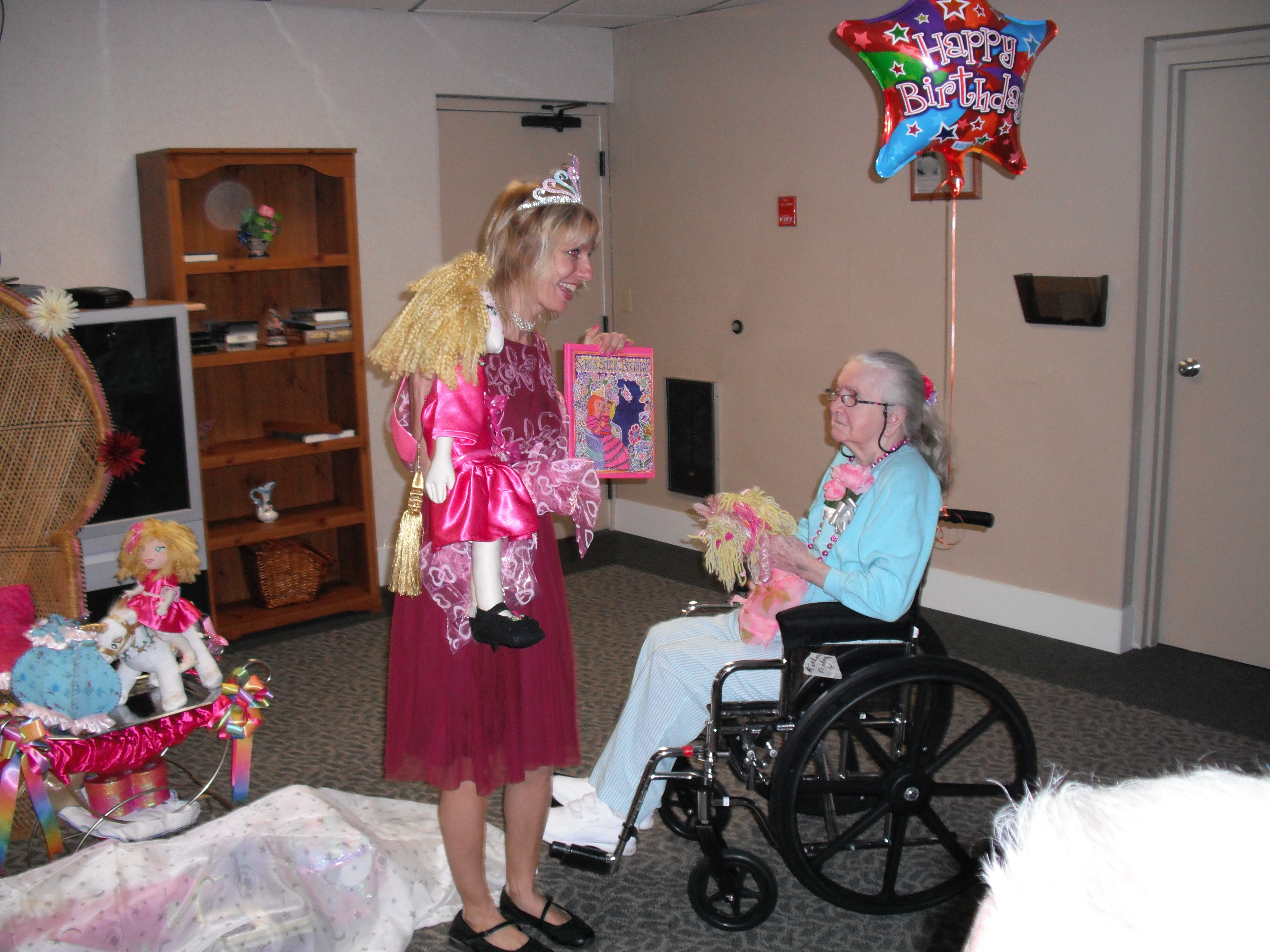 "Showing Grandma Kay ""Sarah's Special Birthday"" book"