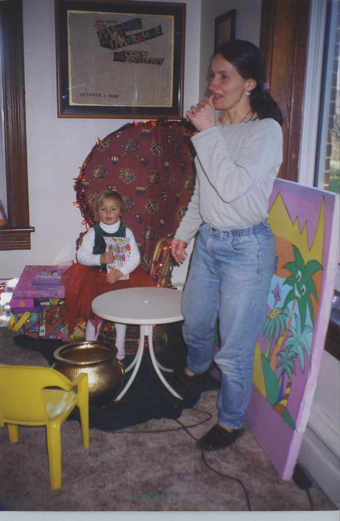 Victoria sitting at original Krendoll throne