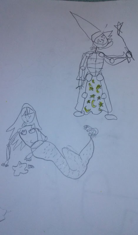 Mermaid with starfish and knight to protectd