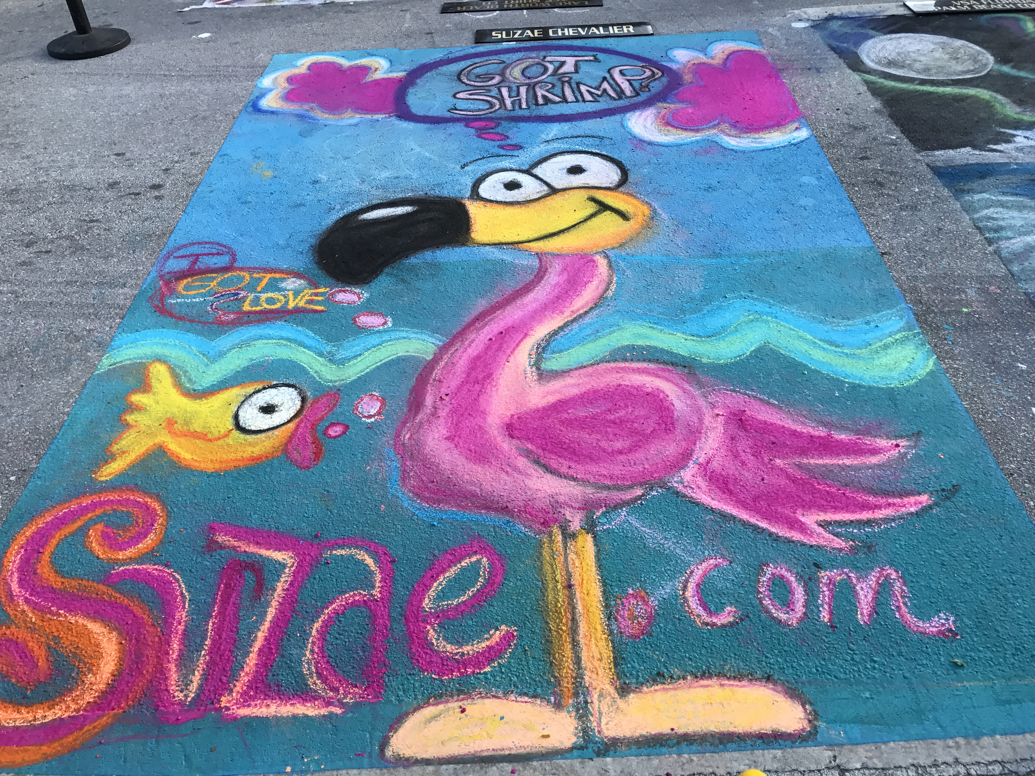 """You Got Shrimp?"" pink flamingo says to golden fish at 2017 Lake Worth Street Painting Festival"